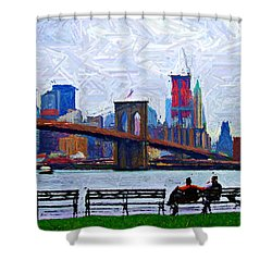 By The Water Too Sketch Shower Curtain by Randy Aveille