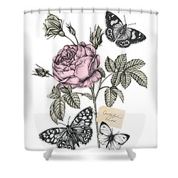 Cabbage Rose Shower Curtain by Stephanie Davies