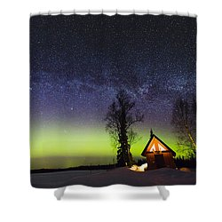 Cabins Glow Shower Curtain by Ed Boudreau