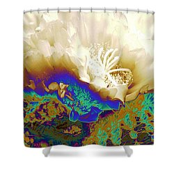 Cactus Moon Flower Shower Curtain by  Andrea Lazar