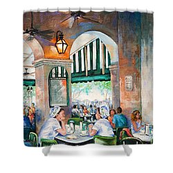 Cafe Girls Shower Curtain by Dianne Parks
