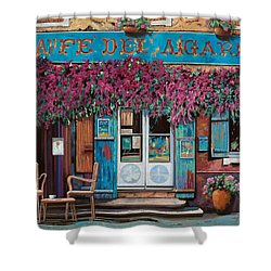 caffe del Aigare Shower Curtain by Guido Borelli