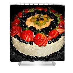 Cake Decorated With Fresh Fruit Shower Curtain by Sue Melvin