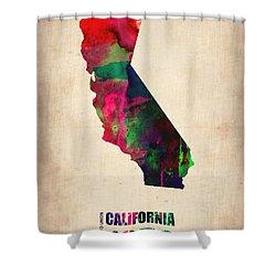 California Watercolor Map Shower Curtain by Naxart Studio