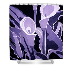 Calla Lillies Lavender Shower Curtain by Angelina Vick