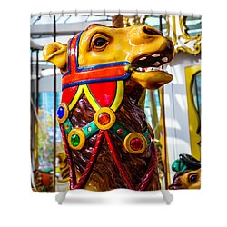 Camel Carrousel Ride Shower Curtain by Garry Gay