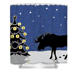 Candlelit Christmas Tree And Moose In The Snow Shower Curtain by Nancy Mueller