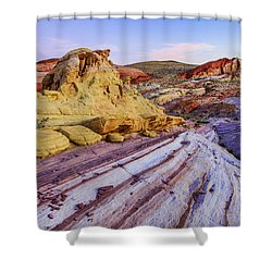 Candy Cane Desert Shower Curtain by Chad Dutson
