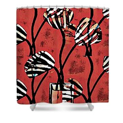 Candy Stripe Tulips 2 Shower Curtain by Sarah Loft