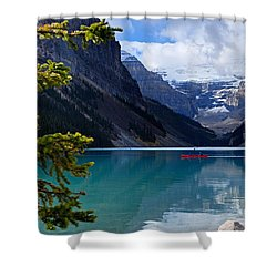 Canoe On Lake Louise Shower Curtain by Larry Ricker
