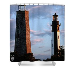 Cape Henry Lighthouses In Virginia Shower Curtain by Skip Willits