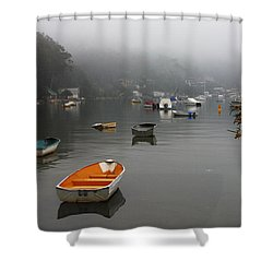Careel Bay Mist Shower Curtain by Avalon Fine Art Photography