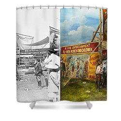 Carnival - Wild Rose And Rattlesnake Joe 1920 - Side By Side Shower Curtain by Mike Savad