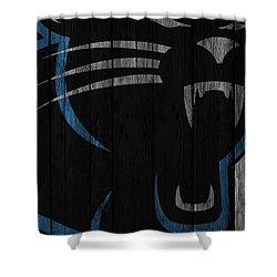 Caroilina Panthers Wood Fence Shower Curtain by Joe Hamilton