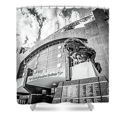 Carolina Panthers Stadium Black And White Photo Shower Curtain by Paul Velgos