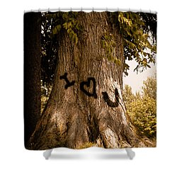 Carve I Love You In That Big White Oak Shower Curtain by Trish Tritz