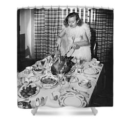 Carving The Thanksgiving Turkey Shower Curtain by American School