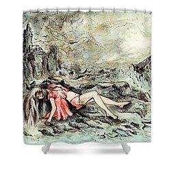 Castaway Shower Curtain by Rachel Christine Nowicki