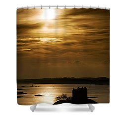 Castle Stalker At Sunset, Loch Laich Shower Curtain by John Short