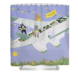 Cat Air Show Shower Curtain by Pat Scott