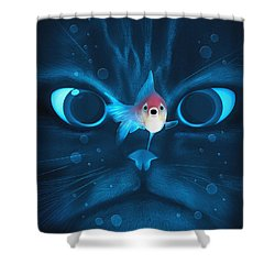 Cat Fish Shower Curtain by Nicholas Ely