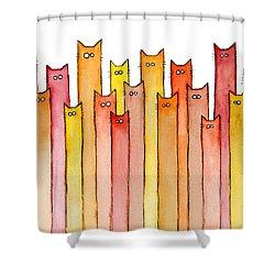 Cats Autumn Colors Shower Curtain by Olga Shvartsur