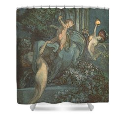 Centaur Nymphs And Cupid Shower Curtain by Franz von Bayros