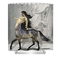 Centaur Warm Tones Shower Curtain by Quim Abella
