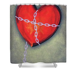 Chained Heart Shower Curtain by Jeff Kolker