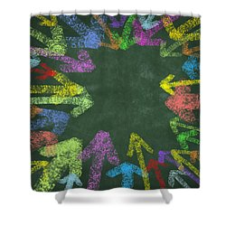 Chalk Drawing Colorful Arrows Shower Curtain by Setsiri Silapasuwanchai