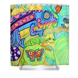 Chamelion And Rainforest Frogs Shower Curtain by Nick Gustafson