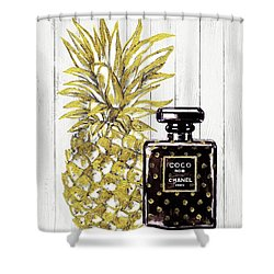 Chanel  Noir Perfume With Pineapple Shower Curtain by Del Art