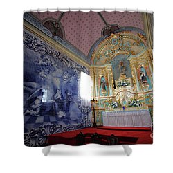 Chapel In Azores Islands Shower Curtain by Gaspar Avila