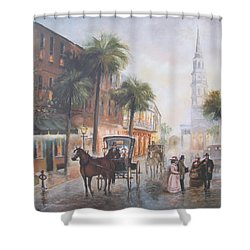 Charleston Somewhere In Time Shower Curtain by Charles Roy Smith