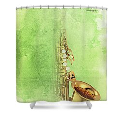 Charlie Parker Saxophone Green Vintage Poster And Quote, Gift For Musicians Shower Curtain by Pablo Franchi