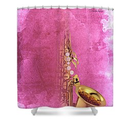 Charlie Parker Saxophone Light Red Vintage Poster And Quote, Gift For Musicians Shower Curtain by Pablo Franchi