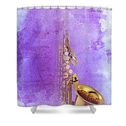 Charlie Parker Saxophone Purple Vintage Poster And Quote, Gift For Musicians Shower Curtain by Pablo Franchi
