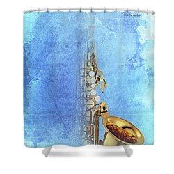 Charlie Parker Saxophone Vintage Poster And Quote, Gift For Musicians Shower Curtain by Pablo Franchi