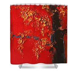Cherry Blossom Tree - Red Yellow Shower Curtain by Patricia Awapara
