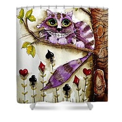 Cheshire Cat Shower Curtain by Lucia Stewart