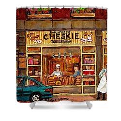 Cheskies Hamishe Bakery Shower Curtain by Carole Spandau