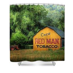 Chew Red Man Shower Curtain by Lori Deiter