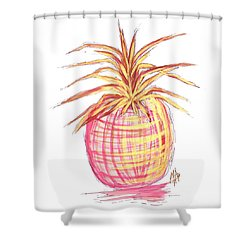 Chic Pink Metallic Gold Pineapple Fruit Wall Art Aroon Melane 2015 Collection By Madart Shower Curtain by Megan Duncanson