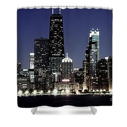 Chicago At Night High Resolution Shower Curtain by Paul Velgos