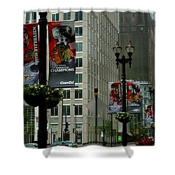 Chicago Blackhawk Flags Shower Curtain by Ely Arsha