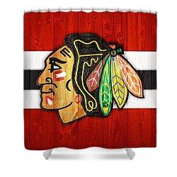 Chicago Blackhawks Barn Door Shower Curtain by Dan Sproul