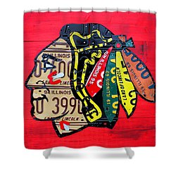 Chicago Blackhawks Hockey Team Vintage Logo Made From Old Recycled Illinois License Plates Red Shower Curtain by Design Turnpike