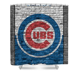 Chicago Cubs Brick Wall Shower Curtain by Joe Hamilton