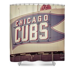Chicago Cubs Sign Vintage Picture Shower Curtain by Paul Velgos