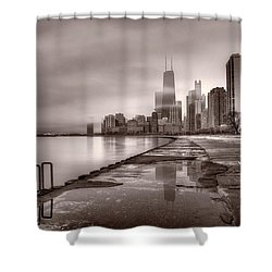 Chicago Foggy Lakefront Bw Shower Curtain by Steve Gadomski